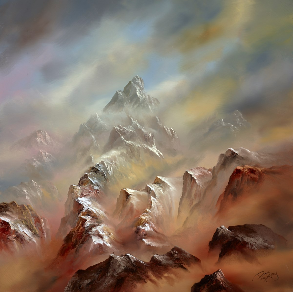 Path Between the Mountains II by philip gray -  sized 40x40 inches. Available from Whitewall Galleries